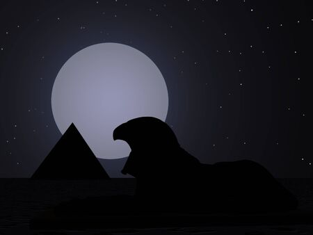 Falcon god and pyramid silhouette