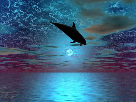 A dolphin silhouette leaping over the moon