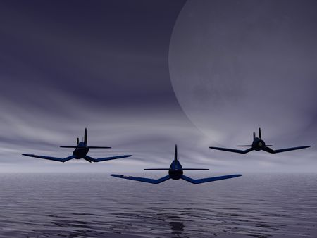 Fighter squadron flying low photo