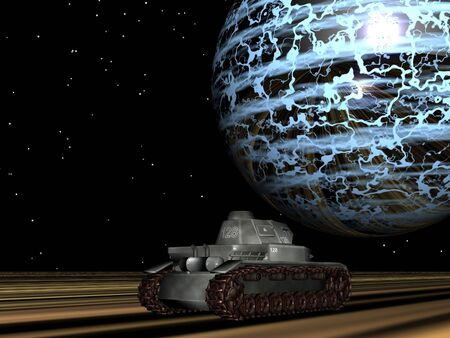 Tank on another world Stock Photo