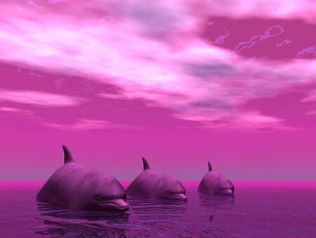 3 dolfijnen in een surrealistisch zeegezicht