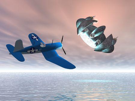pursuing: Old airplane pursuing UFO Stock Photo