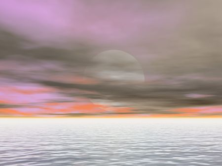 海の月の出