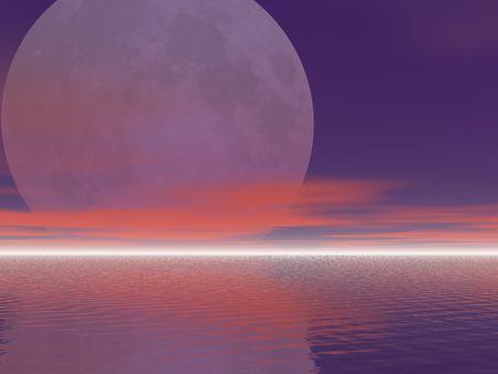 海の上に昇る月