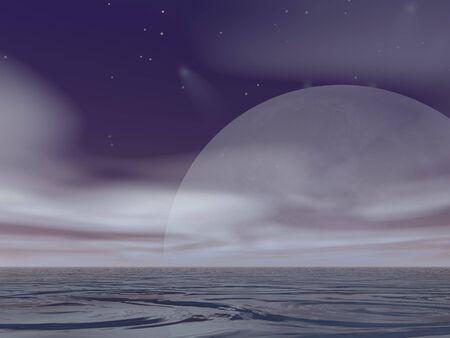 Surreal Moonrise at sea photo