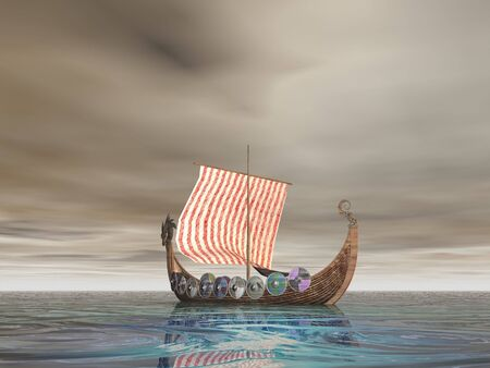 Viking Ship At Sea Stock Photo
