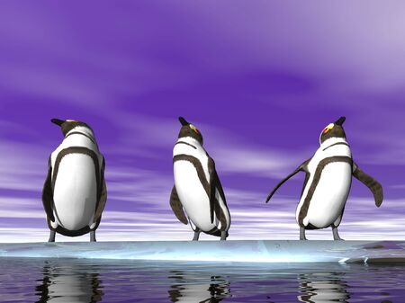 Three illustrated penguins on an ice flow