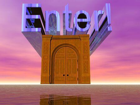 3D テキストやシュールな戸口