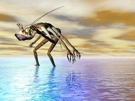 Monster in the sea illustration