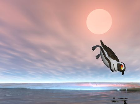 Illustrated penguin diving photo