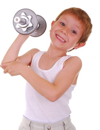 lifting weights: Pesos de elevaci�n del muchacho