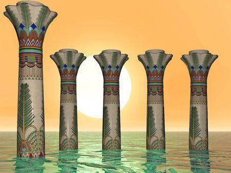 Egyptian Sea Pillars in the harbor