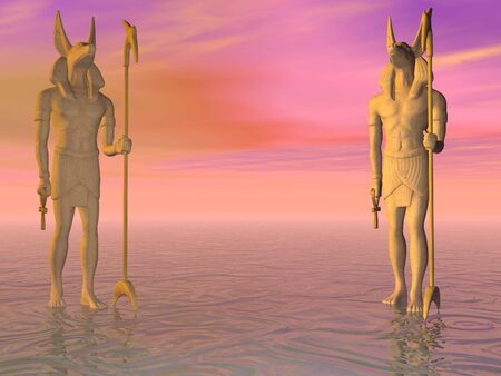 Twin statues of Anubis Banque d'images
