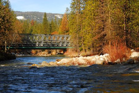 murmur: Mountain River Bridge in winter Stock Photo