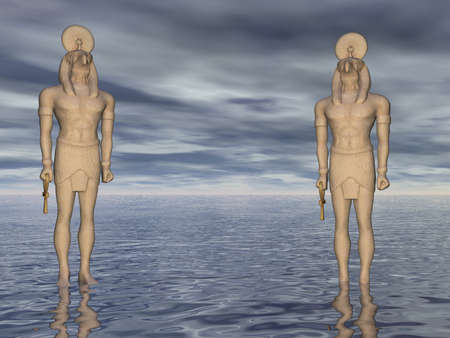 Two statues of Horus at sea