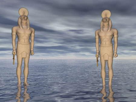 horus: Two statues of Horus at sea