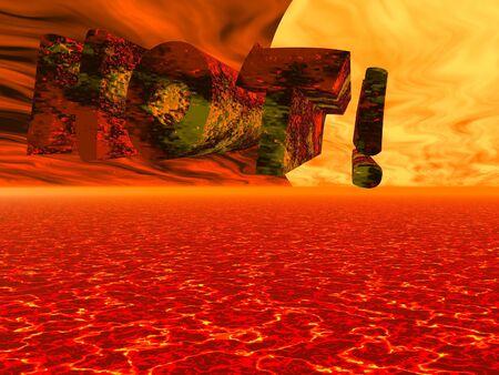 lightyear: 3D text illustrating hot Stock Photo
