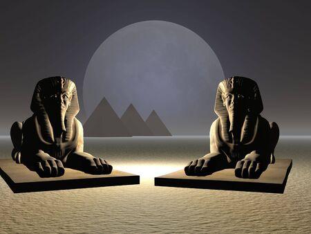 Surreal illustration of sphinx