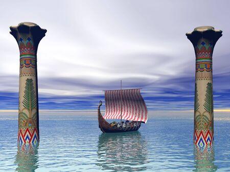 Viking ship leaving Egyptian port photo