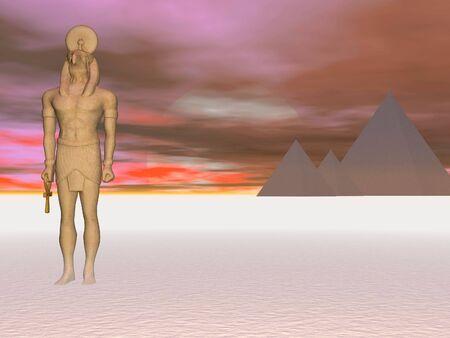 이집트 신 Horus의 초현실적 인 장면 스톡 콘텐츠