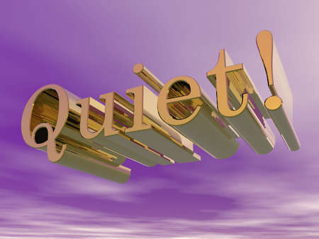 3D illustrated text quiet