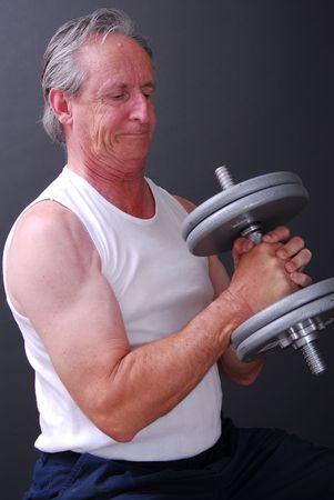Senior lifting weights senior power