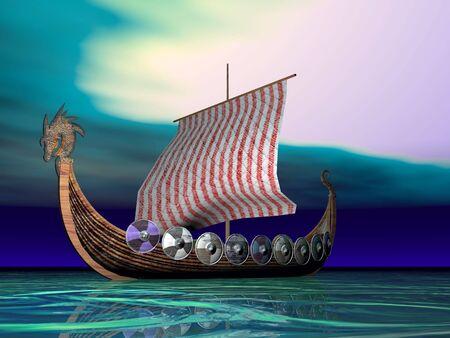 Viking ship sailing Stock Photo - 423414