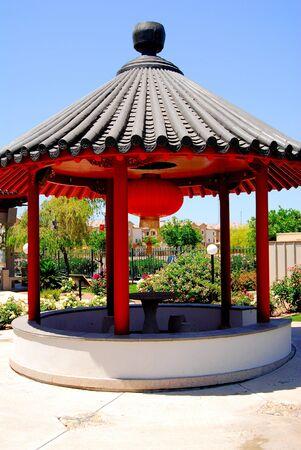 Brilliant and stylized Chinese pavilion Imagens