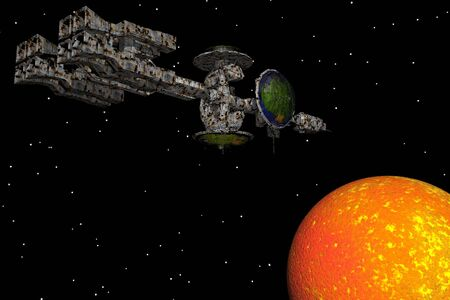 Spaceship approaching a planet Stock Photo - 425444