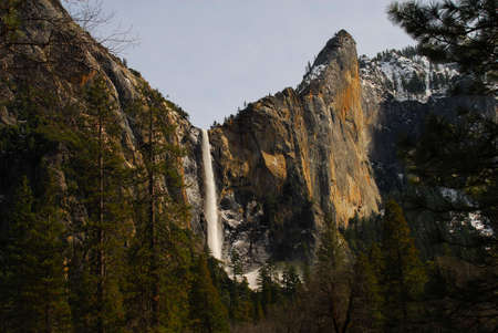 Yosemite valley water fall and cliff