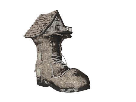 Illustrated Pencil Sketch fairytale Shoe House