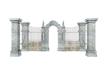 perimeter: Illustrated gate colored pencil sketch