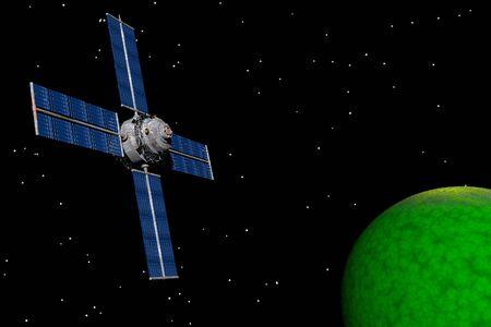 orbiting: Communications Satellite orbiting planet