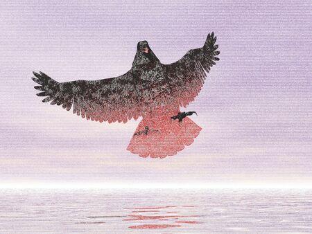 Dibujo a lápiz surrealista fuego águila Foto de archivo - 436578