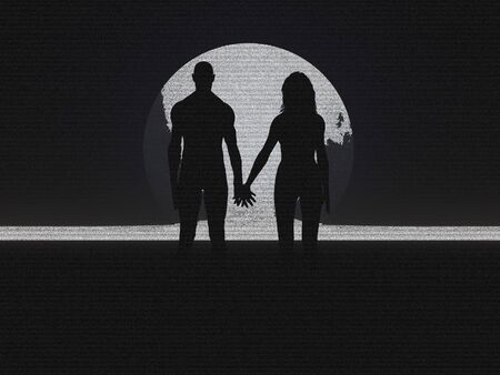 Couple holding hands silhouette pencil sketch Stock Photo - 436564