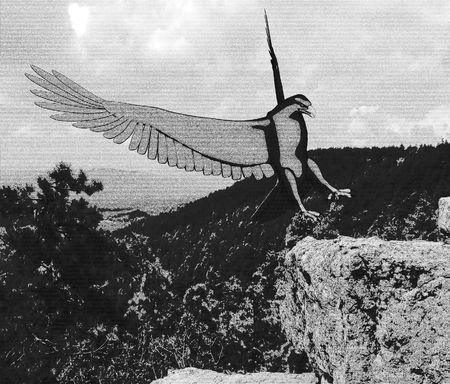Pencil Sketch Eagle landing on a rock outcropping