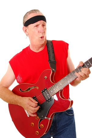 Senior rockin on an Electric guitar photo