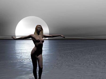 Dark illustré nue dans la mer Banque d'images - 463103