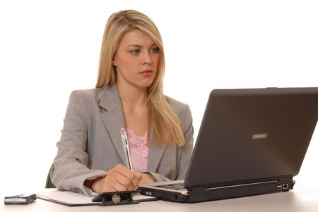 Business lady at computer photo