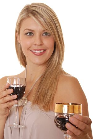 Lovely lady offering a glass of wine photo
