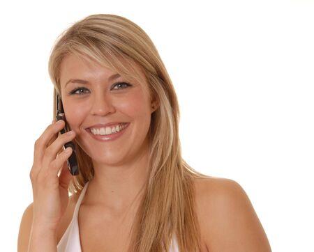 Lovely girl on cell phone photo