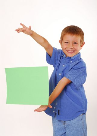 suspend: Boy magically holding sign floading in air