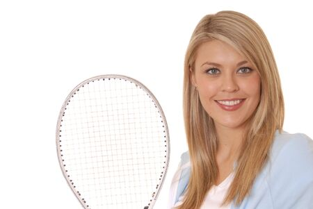 Lovely girl with tennis racket photo