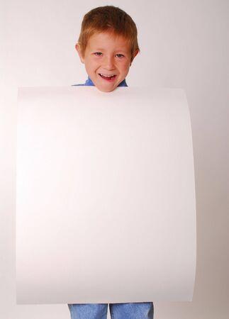 Boy holding Blank Sign Stok Fotoğraf