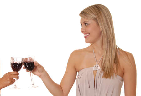 Lovely lady toasting with wine photo