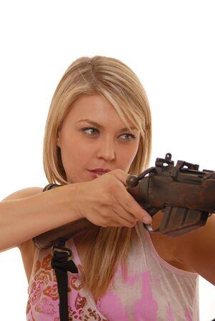 Beautiful lady with rifle photo