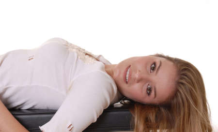 casually dressed: Casually dressed lovely lady resting after exercising Stock Photo