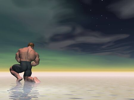 Posing illustrated body builder in a seascape photo