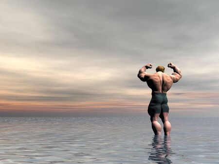 Posing illustrated body builder in a seascape