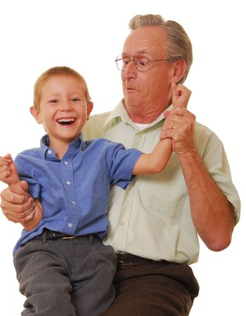 family tickle: Father and son playing and laughing